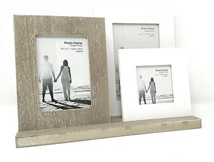 3 marcos de fotos de madera en bandeja, acabado en un estilo envejecido
