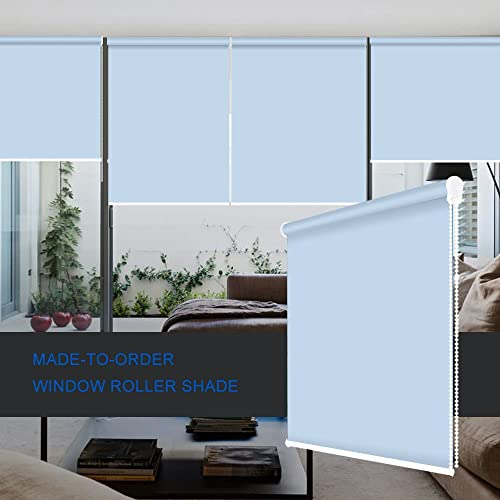 ZY Blinds Blackout Roller Shades Custom Made Any Size from 20-78inch Wide UV Protection Enery Saving Block 100 Light Window Shades Blinds for Home, Hotel, Club, Restaurant 58 W x 96 L, Sky Blue