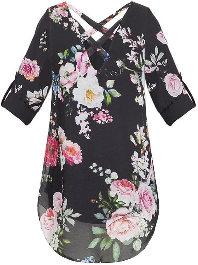 Donna lunga floreale Jersey Manica Corta Camicia//Camicia Da Notte Taglie Forti 14-32