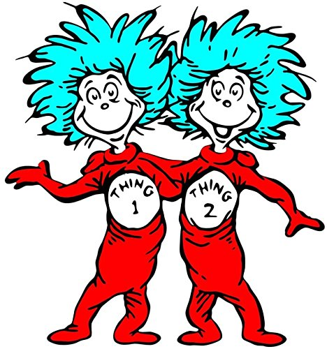 Dr. Seuss - Thing 1 & 2 - For Light-Colored Materials - Iron On Heat Transfer 6.5