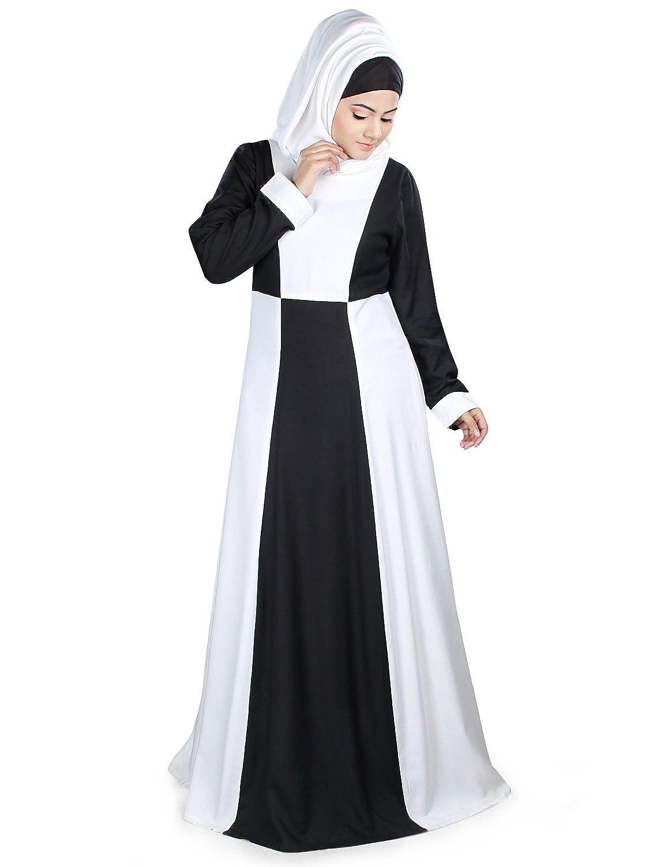 MyBatua Aamaal Black & White Rayon Islamic Abaya Dress ay-416