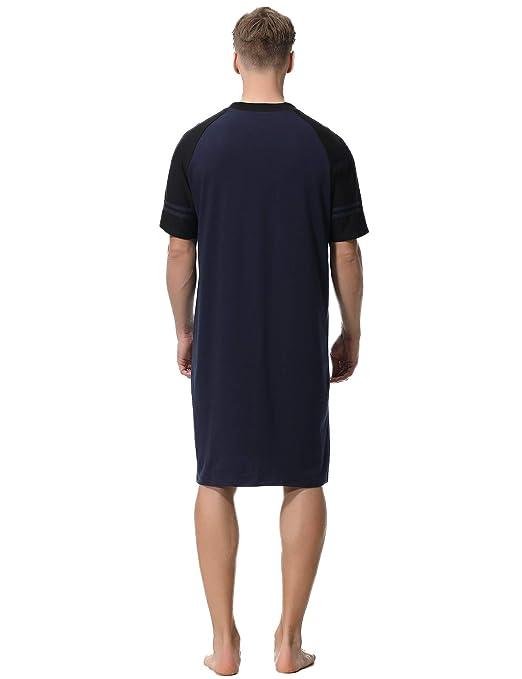 746a6ecefd Aibrou Camison Hombre Algodon Corto y Largo Pijama Cómodo y Transpirable  Ropa de Dormir  Amazon
