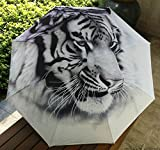 White Women'S Mens Oil Painting Tiger Print Sun/Rain Umbrella Hot