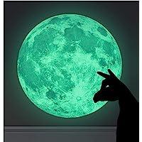 WandSticker4U® - Muurtattoo lichtgevende maan 30x30 cm I zelfklevende fluorescerende maan lichtgevende sticker kinderen…