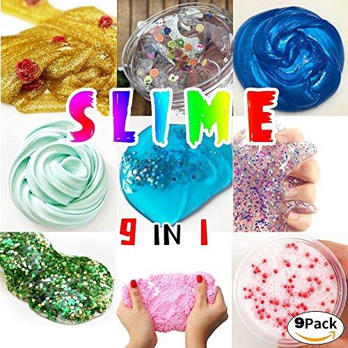 HSETIY Super Slime Kit - 9 Styles Slime(2.5 oz each,total 22.5oz) with Colorful Foam Balls, Gold sand Decoration, Pearl Decoration, Golden sand Glitter Shake Jars for DIY Slime