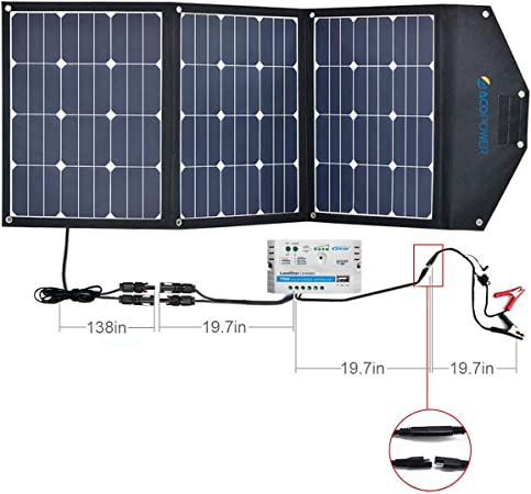 ACOPOWER HY-3x35W18V2 12V 105W Solar Panel Kit w 10A Charge Controller for both RV/Camper Boat Battery and DC Devices