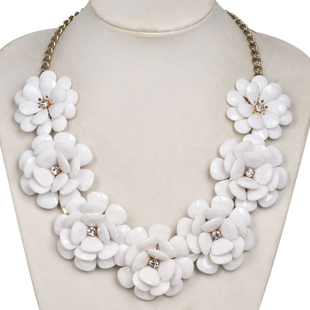 LovelyJewelry Fashion White Flower Statement Necklaces Golden Chain Chunky Bubble Pendant For