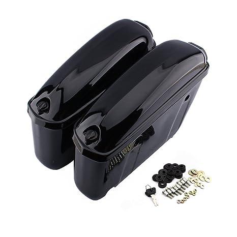 Caja Lateral Moto rígida, par de alforjas Laterales en ABS con Llave y Bolso para