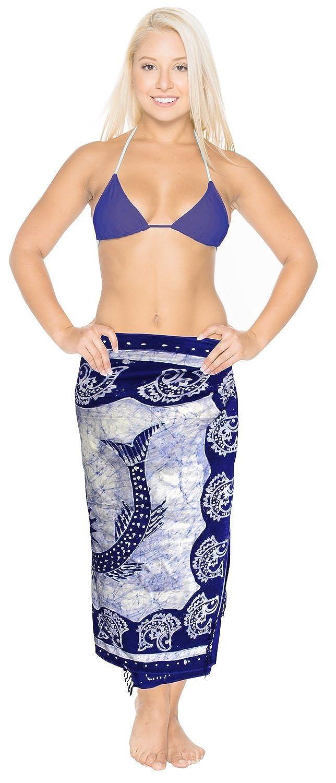 La Leela weichen, sanften Rayon Hand Batik blau Fisch 5 in einem Bademode/Badeanzug vertuschen/sundress/Bikini Schlitz Rock/Damen Pareo/plus Größe Badeanzug Sarong langes Kleid 198x99 cm wickeln
