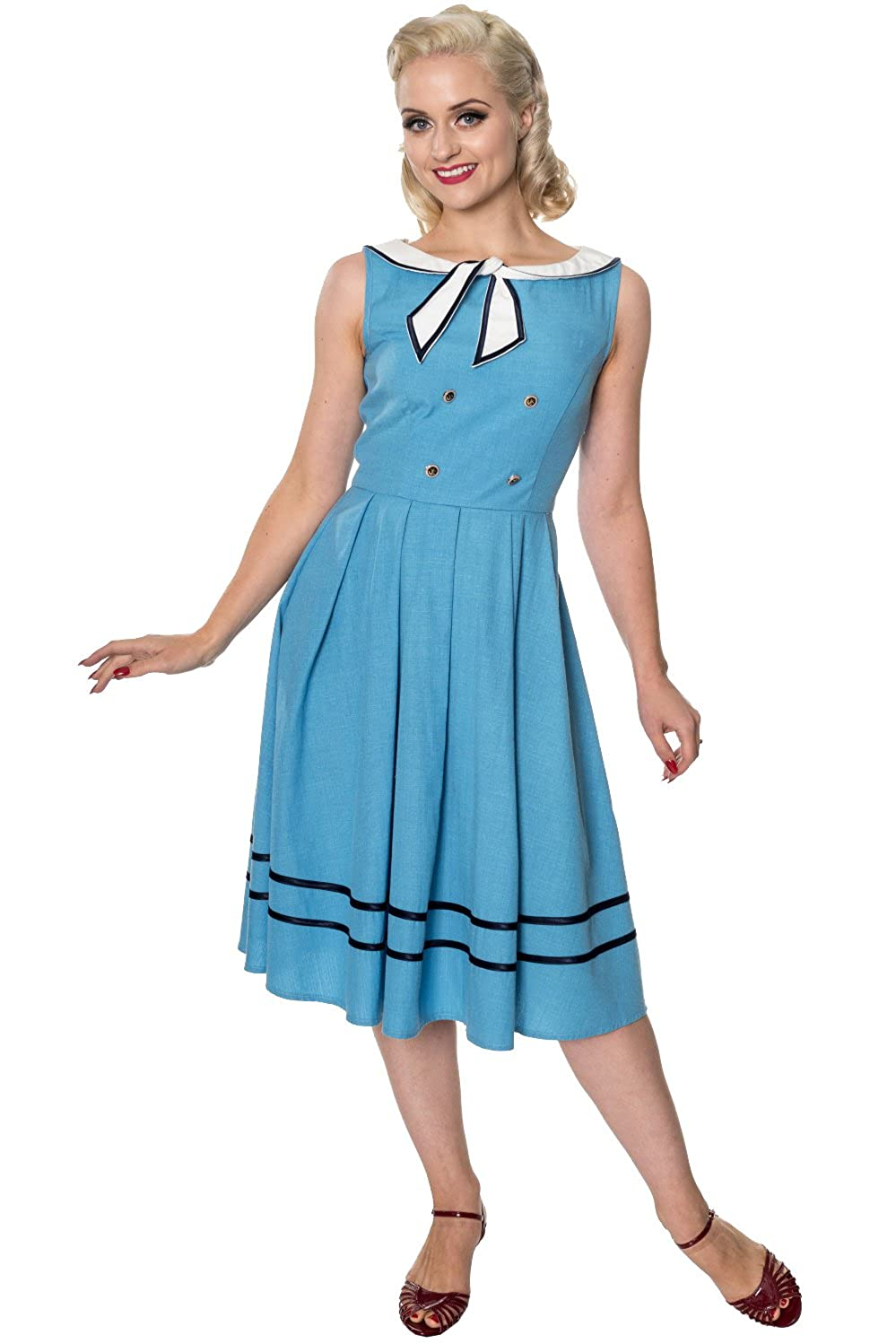 Sailor Dresses, Nautical Theme Dress, WW2 Dresses Banned Aquarius Vintage Dress $49.95 AT vintagedancer.com