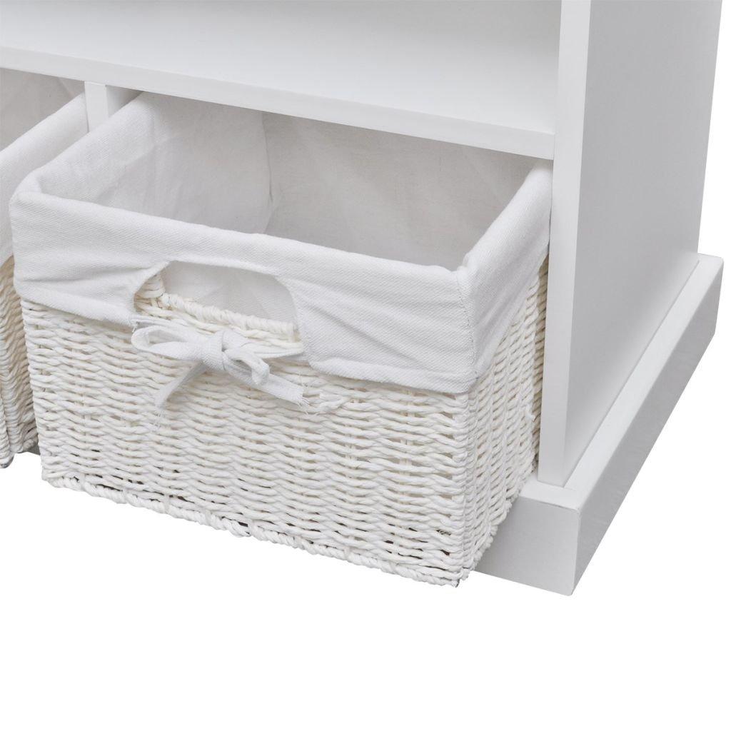 vidaXL Banc de Stockage Rangement avec 3 paniers Aarau Blanc Banquette si/ège Assise