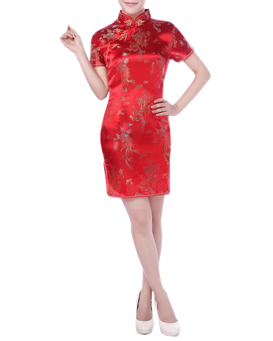 XueXian(TM) Womens Summer Satin Short QiPao Ladies Chinese Traditional Dragon Dresses 6 Colors (China L: Bust 35.83'' Waist 29.92'' Hip 37.8'',red)