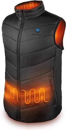 IUREK Chaleco Calefactable Hombre ZD920, Chaleco Térmico Impermeable y Lavable con Banco de Energía 10000 mAh, 3 Temperatura Ajustable, 4 Zonas de Calefacción para Deporte Outdoor, Trabajo en Invierno