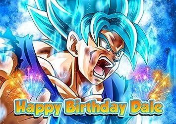 Dragon Ball Super Son Goku Anime Z Saiyan Edible Cake Topper Personalized