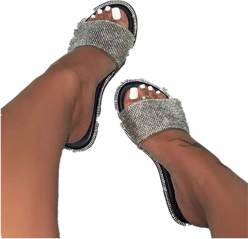 HIRIR Womens Glitter Bling Slide Flat Low Wedge Sparkle Sandals Crystal Slippers Beach Indoor Outdoor Shoes
