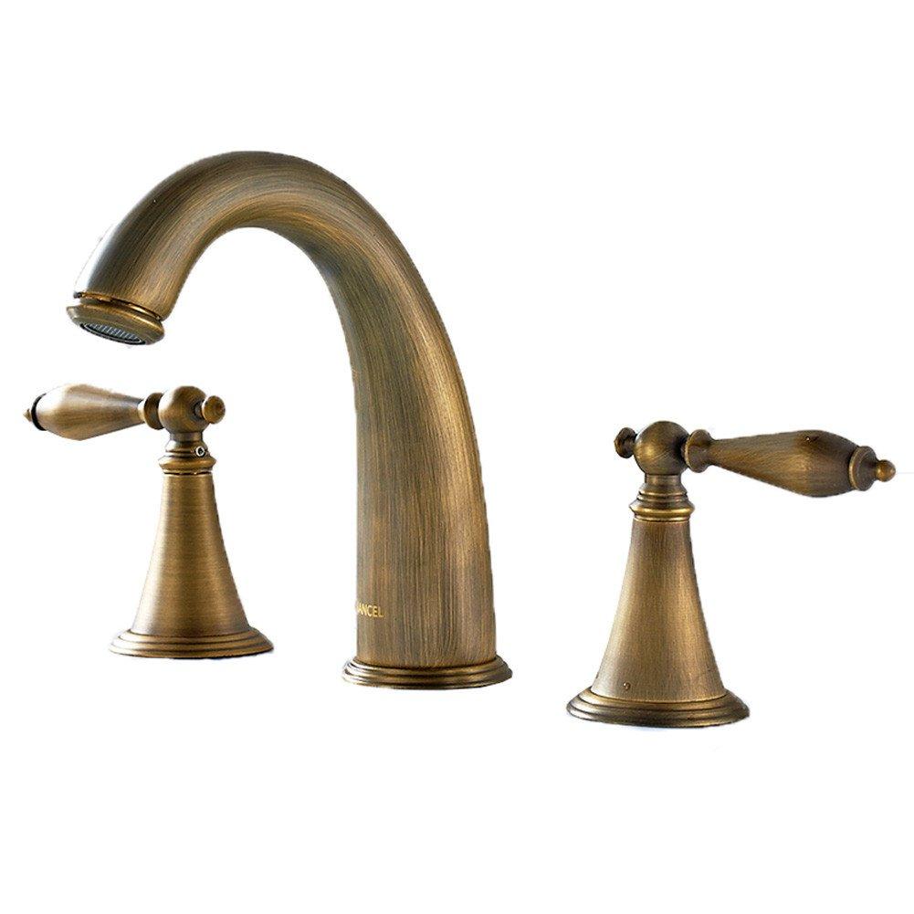 Good quality Wasserhahn Waschtisch Armatur voll Kupfer DREI Loch Wasserhahn warmes und Kaltes Waschbecken Badezimmer 2 Badezimmer Schränke 3-Teiliger Satz