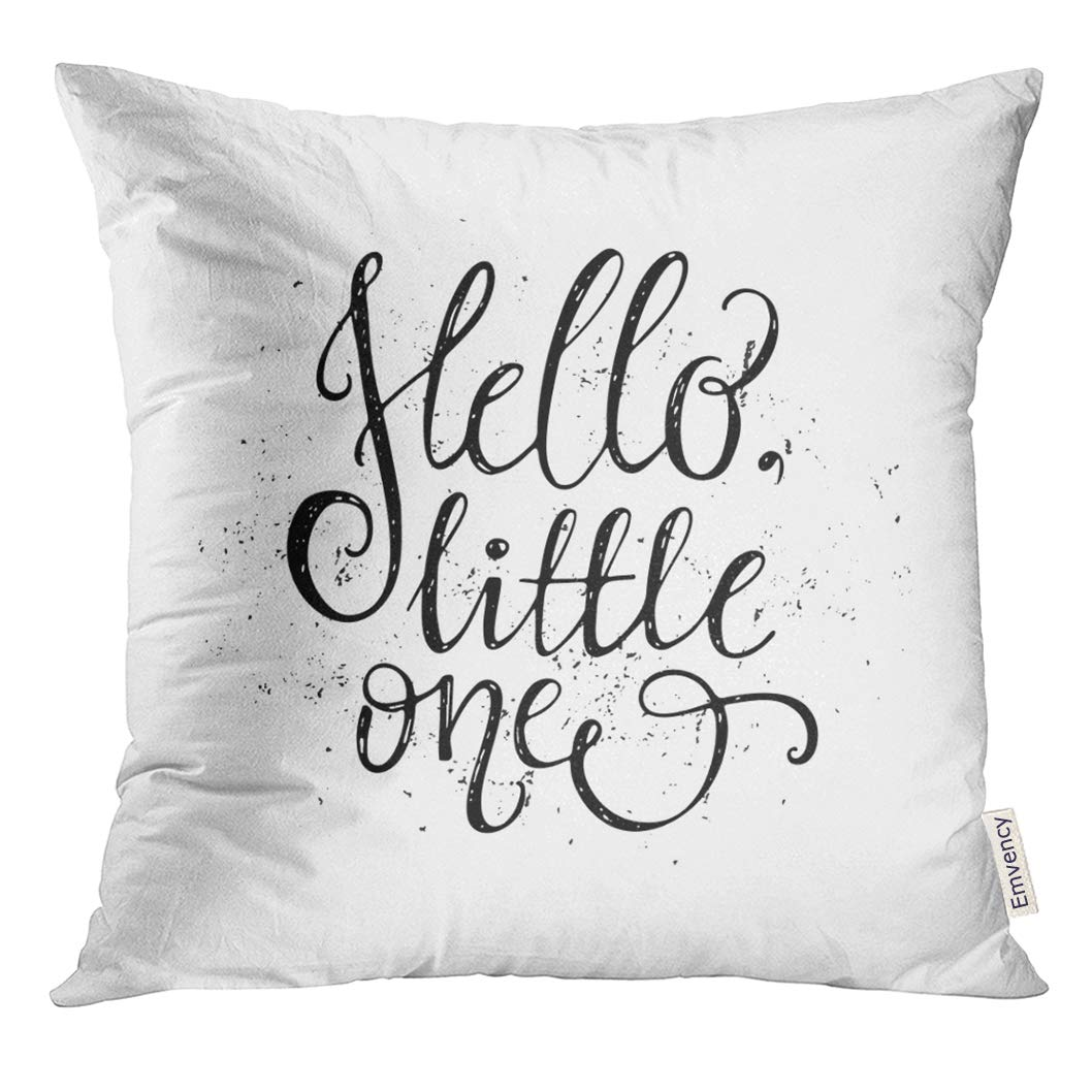 UPOOS Throw Pillow Cover Quote Hello Little One Unique for Childrens Room or Nursery Design Calligraphy Handdrawn Decorative Pillow Case Home Decor Square 20x20 Inches Pillowcase