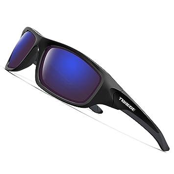 Torege Gafas de sol deportivas polarizadas para hombres y mujeres Ciclismo Correr Pescar Golf TR90 Montura irrompible TR011, Black Frame With Blue ...