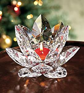 Handcrafted Crystal Lotus Tealight Candle Holder