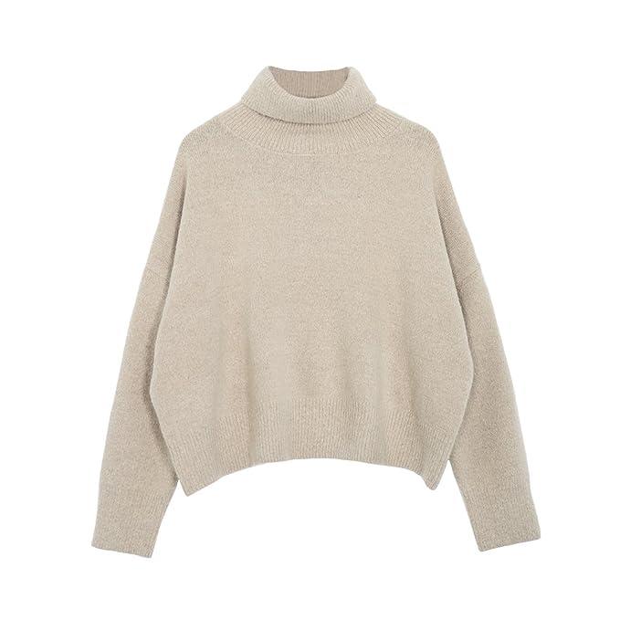 VB Sweater Color sólido tejido de manga larga y cuello redondo alto ...