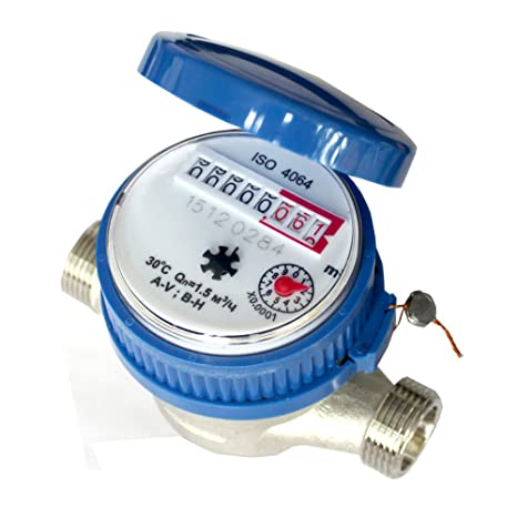Water Fow Meter,Awakingdemi 15mm 1/2 inch Cold Water Meter Read of Cubic  Meters for Garden & Home Using with Free Fittings