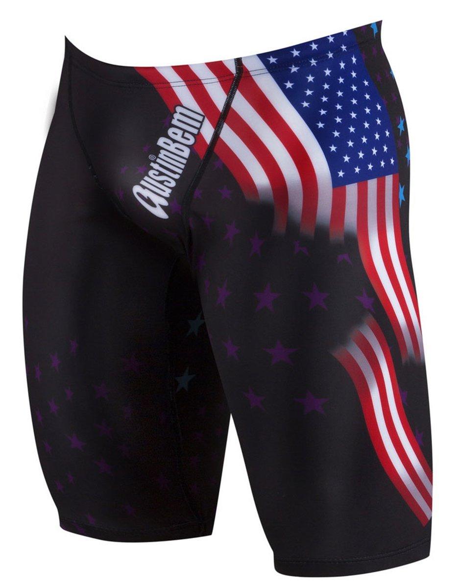 Betusline Mens Men's American Flag Pattern Jammer Swimsuit Swimwear Shorts, Black, Tag Size L = US M