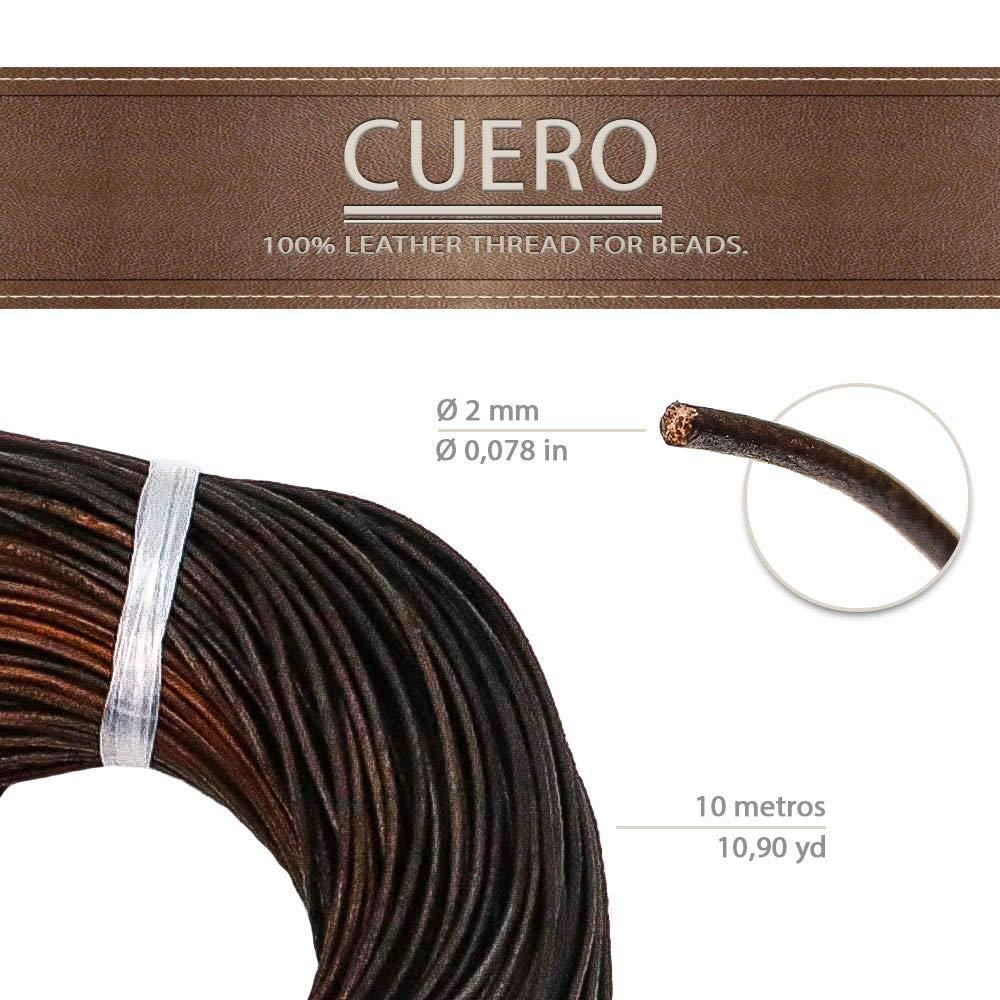 cord/ón cuero para collar Marr/ón Oscuro, 10 Metros 10 m Cuerda de piel redonda /Ø 2 mm bisuter/ía y variedad de manualidades pulsera RUBY abalorios longitud seleccionable tiras de cuero
