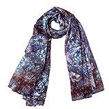 EcoWonder Women's Functional Long 100% Premium Silk Scarf Pale Brown Floral Printing