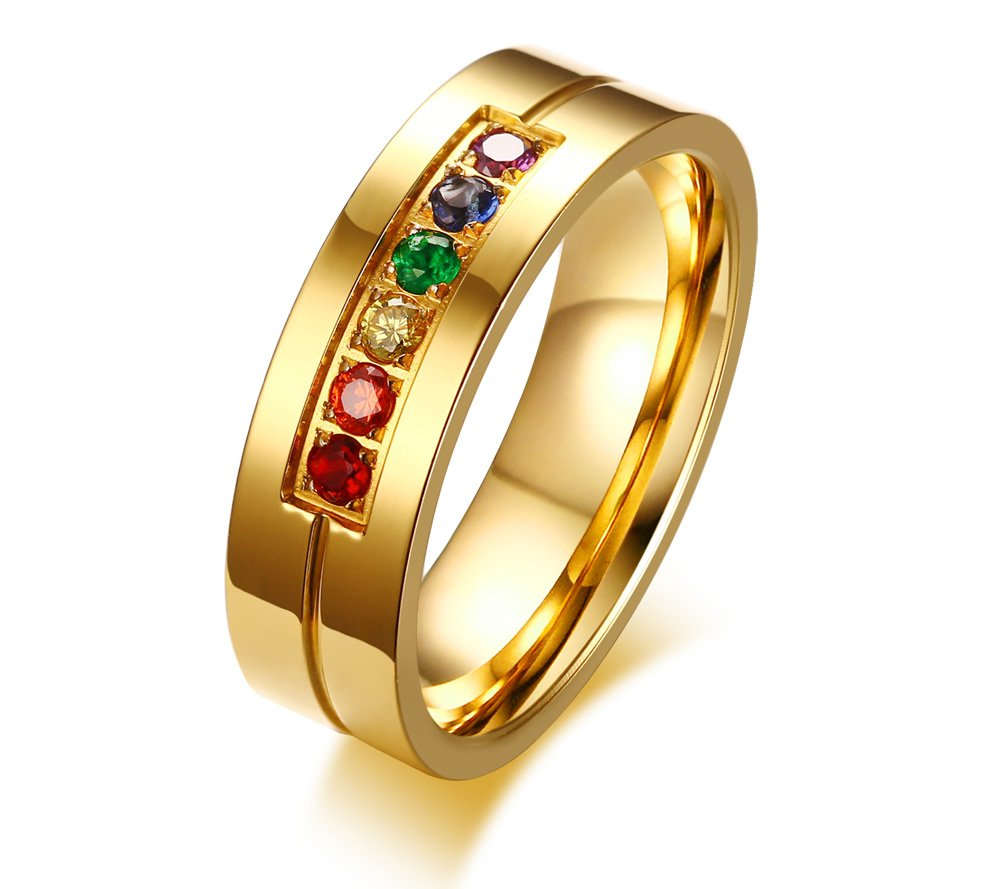 MPRAINBOW 6mm Rainbow AAA+ CZ Wedding Promise Stainless Steel Band Ring,Gold,Size 8