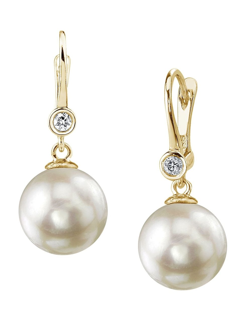 14K Gold 7.5-8.0mm White Akoya Cultured Pearl & Diamond Michelle Earrings