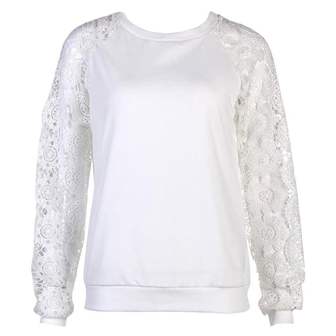 Jipai TM Mujeres Camisetas Manga Larga Blusas de Encaje Flores Elegante Lace Crochet Camisas de Otoño
