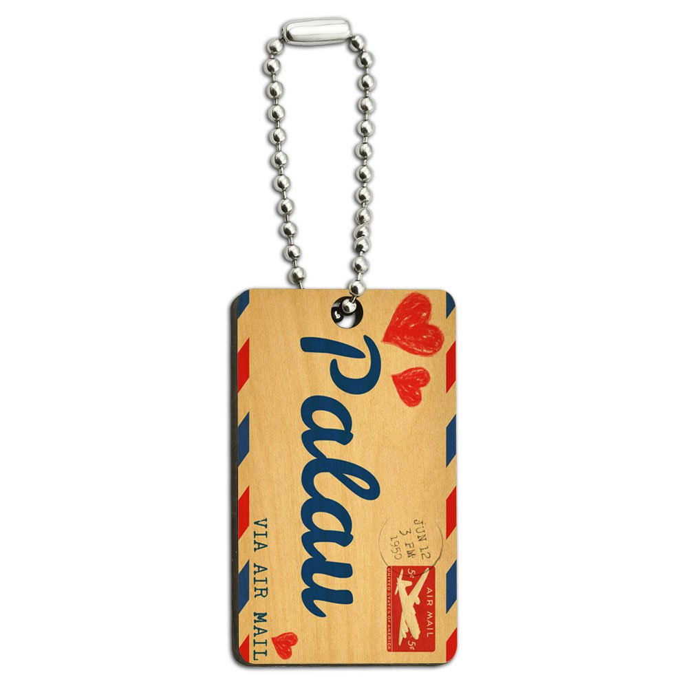 Air Mail Postcard Love for Palau Wood Wooden Rectangle Key Chain