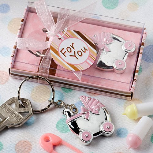 Pink baby carriage design key chains [SET OF 48] Baby Carriage Key Chains