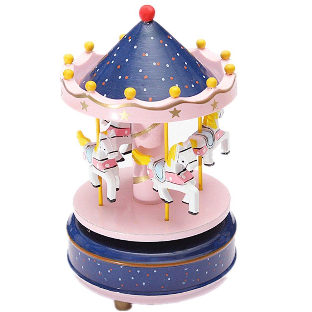 【国内在庫】 charlgainc four- Horse木製メリーゴーランドカルーセル音楽ボックスfor Boys Girls Gift Girls B01MSHN1W4 ブルーピンク Gift ブルーピンク, 涌谷町:c78cb9a4 --- arcego.dominiotemporario.com