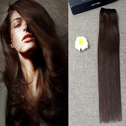 Full Shine 22inch Flip Straight Hair Extension Hidden Flip Hair Extensions Dark Brown Fish Line in Halo Human Hair 100g Hairpiece