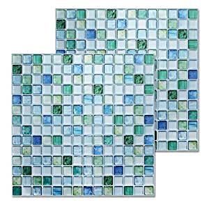 "Beaustile Decorative Tile Stickers Peel Stick Backsplash Fire Retardant Tile Sheet (Sapphire Blue) (1, 12.2"" x 12.2"")"