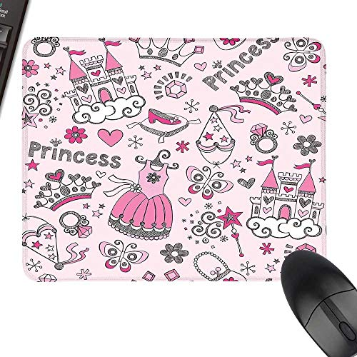 (Girls Kids Room Decor Anti-Slip Mouse Mat Princess Pop Slipper Icons Fairy Castle Butterfly Heart Wand Diamond Tiara Keyboard Mouse Pad 23.6