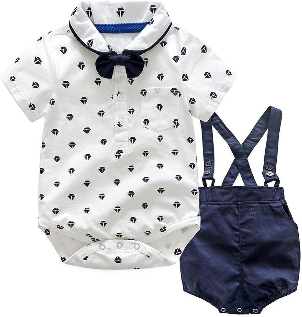 QinMM Bebés Varones Bowtie Body + Petos Pantalones Cortos, Camisa Mono