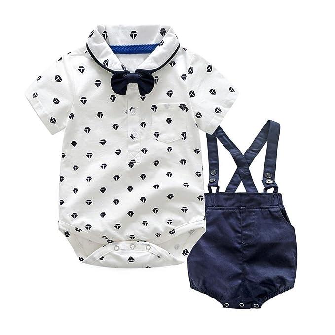 la mejor moda moda atractiva diferentemente QinMM Bebés Varones Bowtie Body + Petos Pantalones Cortos, Camisa Mono
