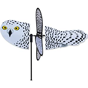 "SNOWY OWL Petite Garden Stake Wind Spinner by Premier Kites & Designs-18""w"