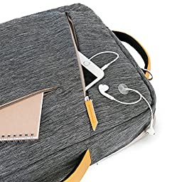 Laptop Briefcase Backpack, Evecase Water Resistant Convertible Canvas Briefcase Backpack - fits up to 17.3-inch HP / Dell / Asus / Acer / Lenovo / Samsung / Toshiba / Apple Macbook Laptop - Gray