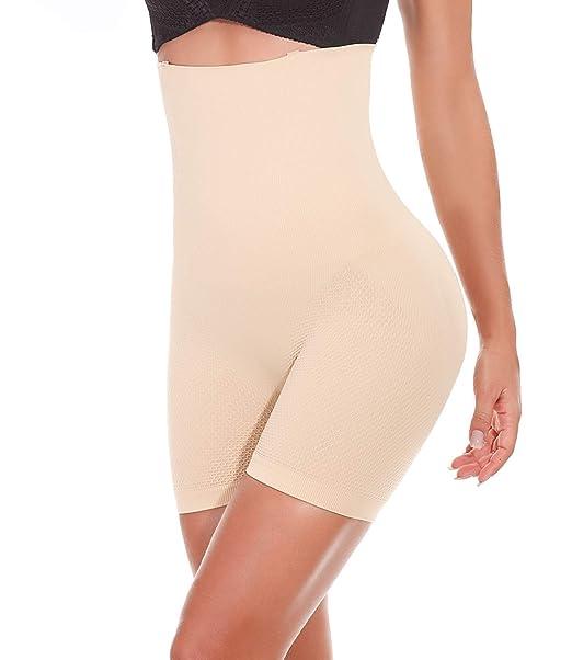d468cf1b65d SEXYWG Women Seamless Body Shaper Thigh Slimming Boyshort Hi-Waist  Shapewear Panty Lace Briefs Tummy Control Underwear  Amazon.co.uk  Clothing