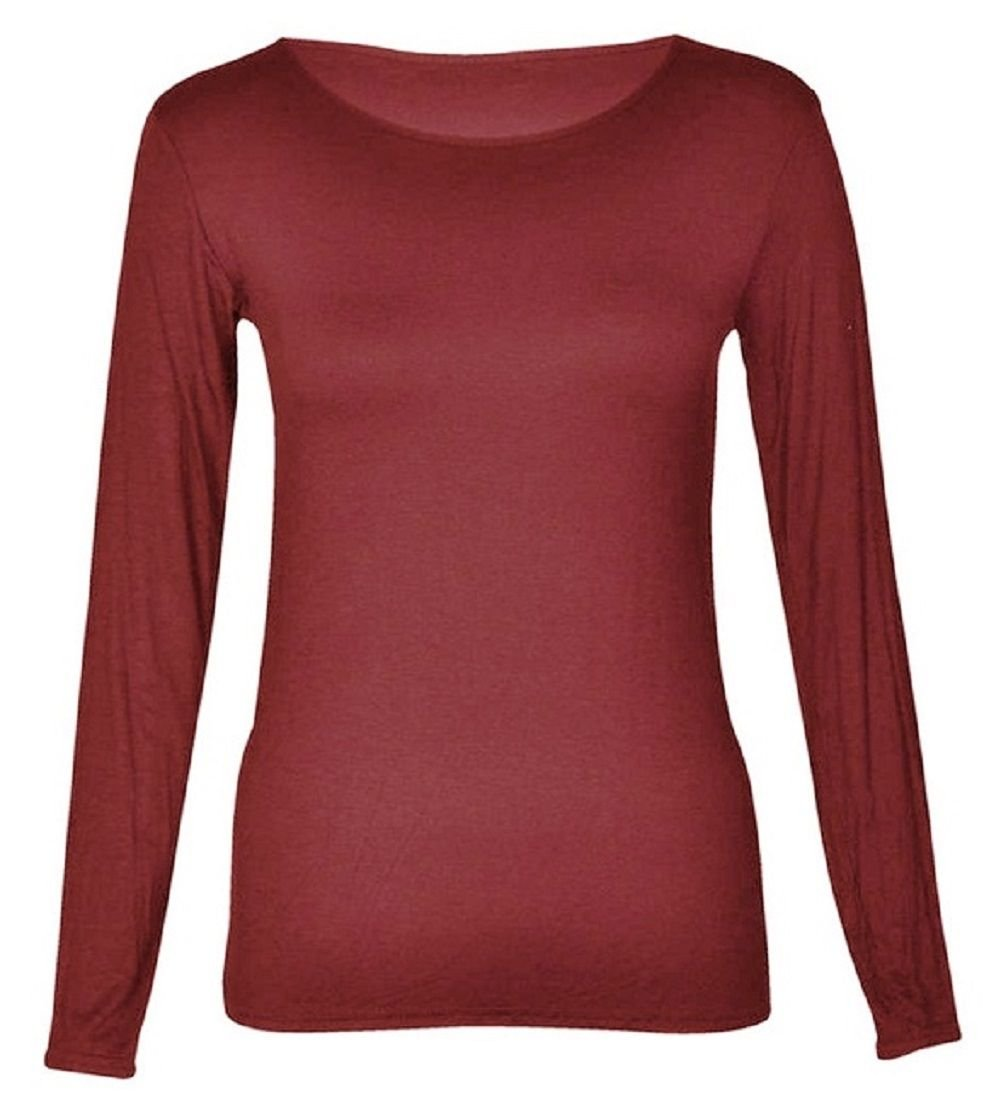 Hot Hanger Womens Long Sleeve Scoop Neck T-Shirt Top UK 8-28 FB-22