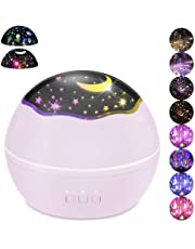Moon Star/Colorful Undersea World Night Light Projector for Kids,HOMREE 8 Colors Rotating Baby Lights Nursery Lamp USB Battery Powered for Children's Toddler's Gift (Pink)