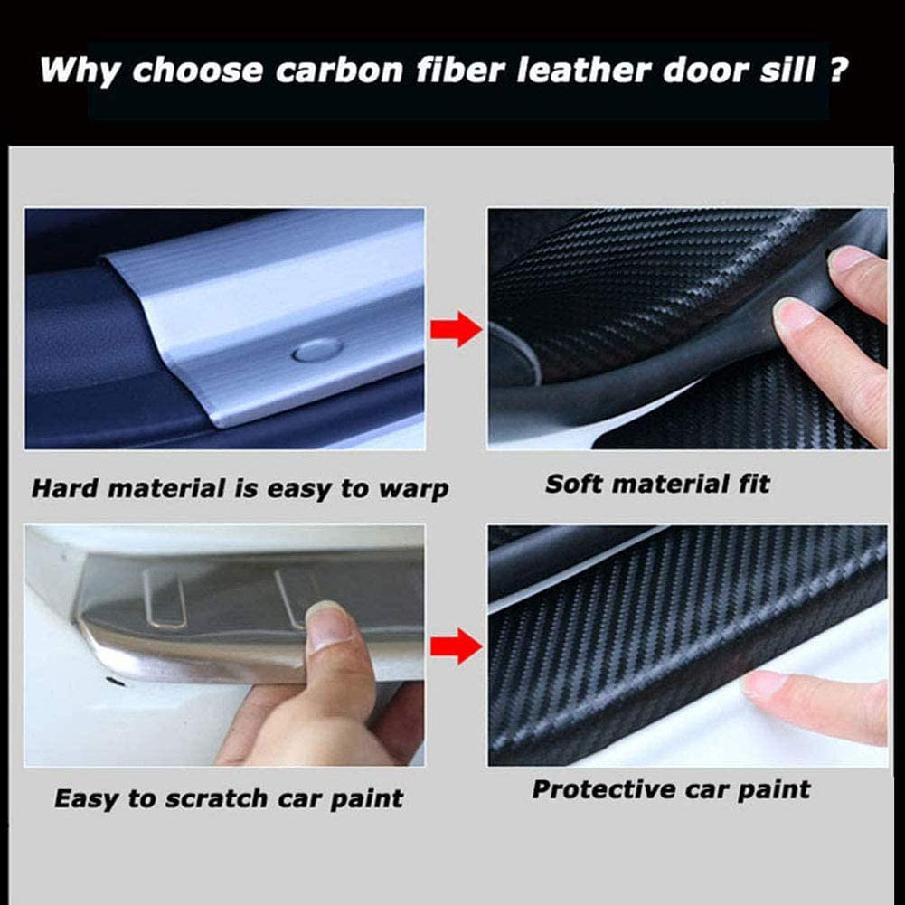 Carbon Fiber Car Door Sill Protector Welcome Pedal Plate Guards Car Accessories AEVEILS 4 Pcs Door Sills Protector Plate For Citroen Xsara C4 C3 Picasso