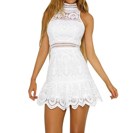 Challeng Ropa de Mujer Verano Espalda Abierta Mini Vestido Fiesta Vestido de Playa Falda Princesa Encaje (Blanco, L): Amazon.es: Ropa y accesorios