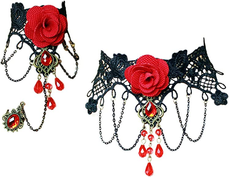 b89b0cb64068f Lefinis Red Flower Rose Beads Popular Girl Gothic Lolita Black Lace Collar  Choker Necklace Bracelet