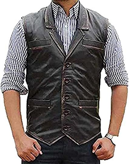 826a26cc5e588 Hell on Wheels Cullen Bohannan Real Leather Motorcycle Biker Vest (X-Small)  Grey