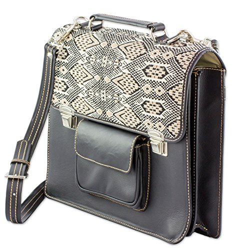 NOVICA Beige Leather and 100% Cotton Laptop Bag, 'Tricolor Kaleidoscope' by NOVICA (Image #1)