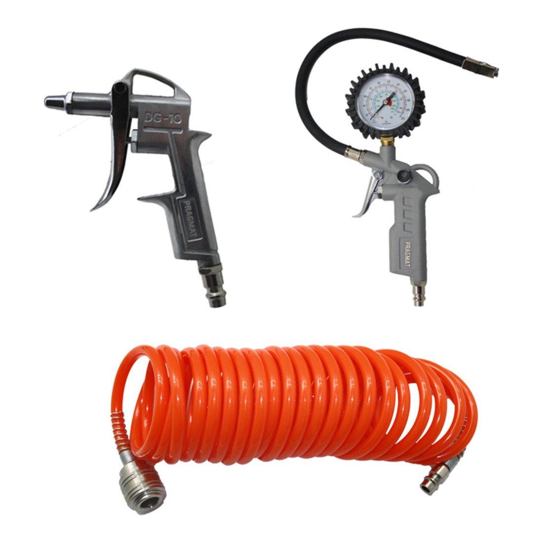 pragmat Impresió n Set de aire, 3 piezas, con manguera en espiral, Medidor de neumá ticos y manguera de aire comprimido, 5 m, con adaptador 3piezas Medidor de neumáticos y manguera de aire comprimido 5m